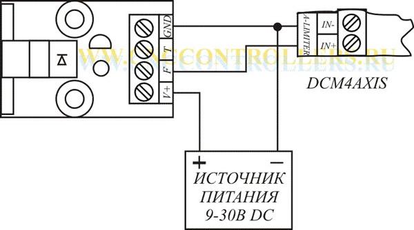 Схемы подключения оптического датчика ADR701 к плате DCM4AXIS.