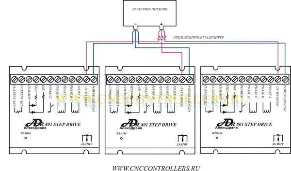 Схема подключения драйвера шагового двигателя.